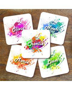 Personalised Paint Splat Name Coaster