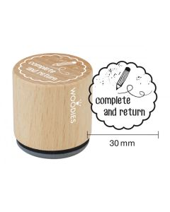 Woodies Rubber Stamp - Complete and Return