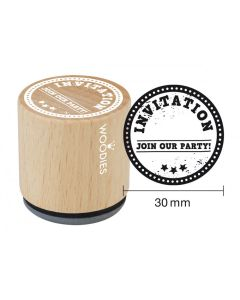 Woodies Rubber Stamp - Invitation Join Our Party