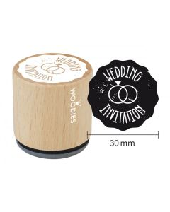 Woodies Rubber Stamp - Wedding Invitation (Rings)