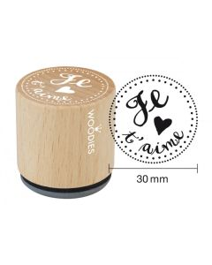 Woodies Rubber Stamp - Je t'aime