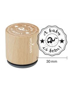 Woodies Rubber Stamp - A Baby is Born