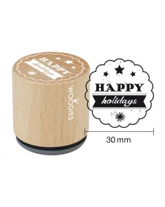 Woodies Rubber Stamp - Happy Holidays