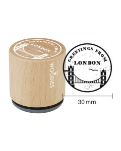 Woodies Rubber Stamp - Greetings, Towerbridge