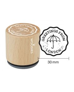 Woodies Rubber Stamp - Greetings, Umbrella