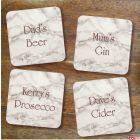 Personalised Name & Drink Coaster - Set of 4