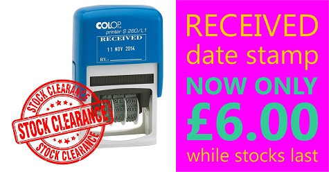 Clearance - RECEIVED date stamp just £6