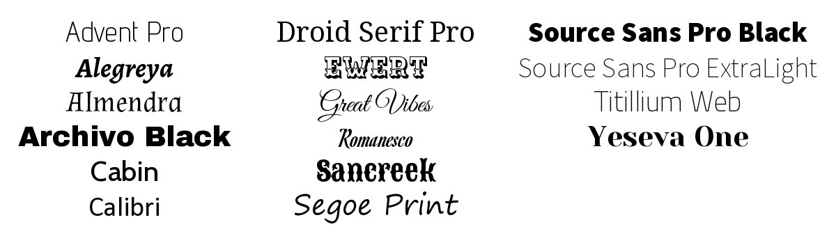 Preview of Google fonts
